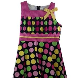 Rare Editions Party Dress Black Pink Yellow Green